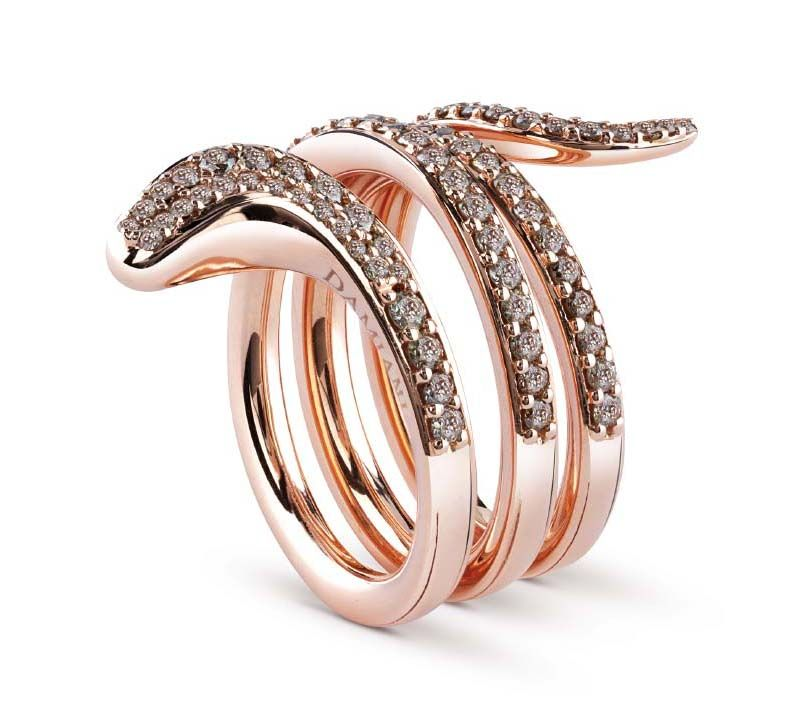 Damiani - Eden ring in pink gold and brown diamonds -2rows 20062887